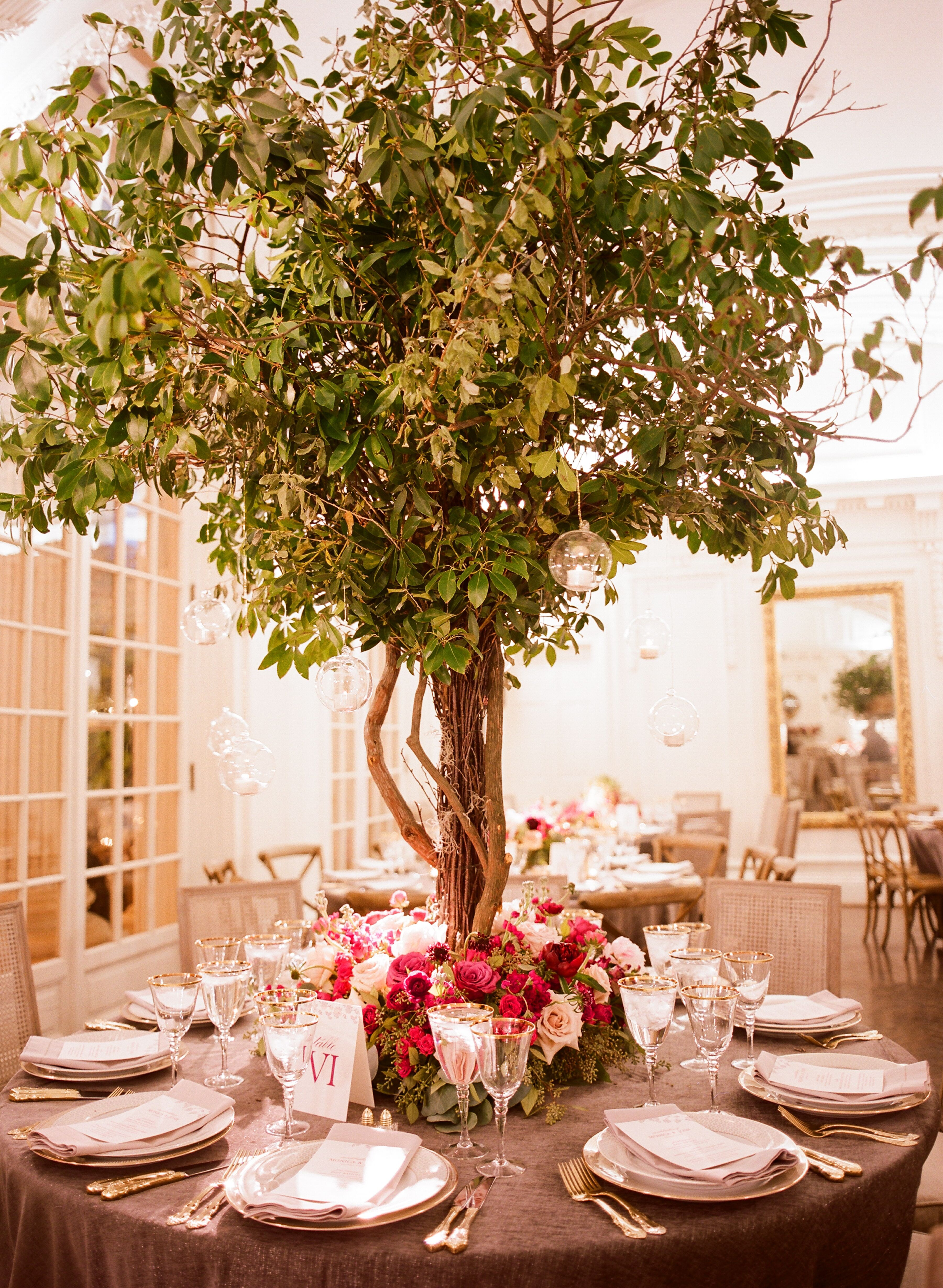 Whimsical Garden Inspired Tree Centerpieces