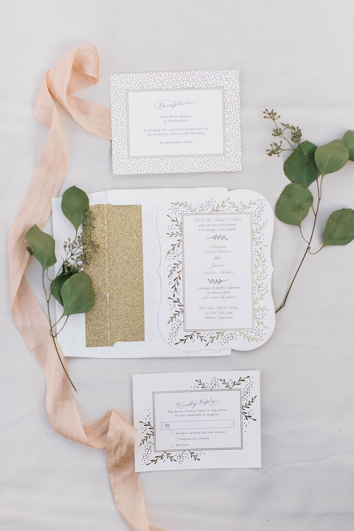 "Andrea ordered her foil-pressed invitations, which were decorated with gilded branches and gold-lined envelopes, from Minted.com. ""The branches fit in with the vineyard theme, and the gold added some elegance,"" Andrea says. ""I feel the invitations set the tone for what to expect at the wedding."""