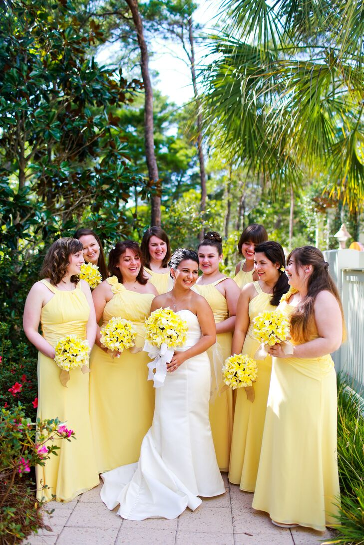 Yellow bridesmaid dresses and plumeria bouquets ombrellifo Images