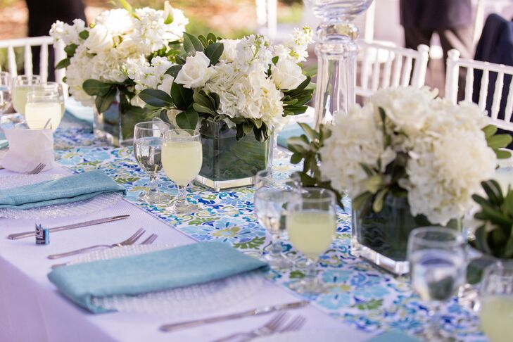 Green and Blue Print Table Runners