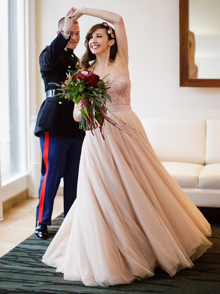 The prettiest blush and light pink wedding gowns two piece bridal look junglespirit Choice Image