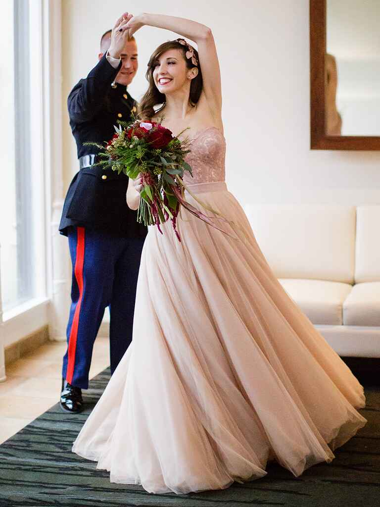 Two-piece wedding look with blush lace bodice and skirt by Watters