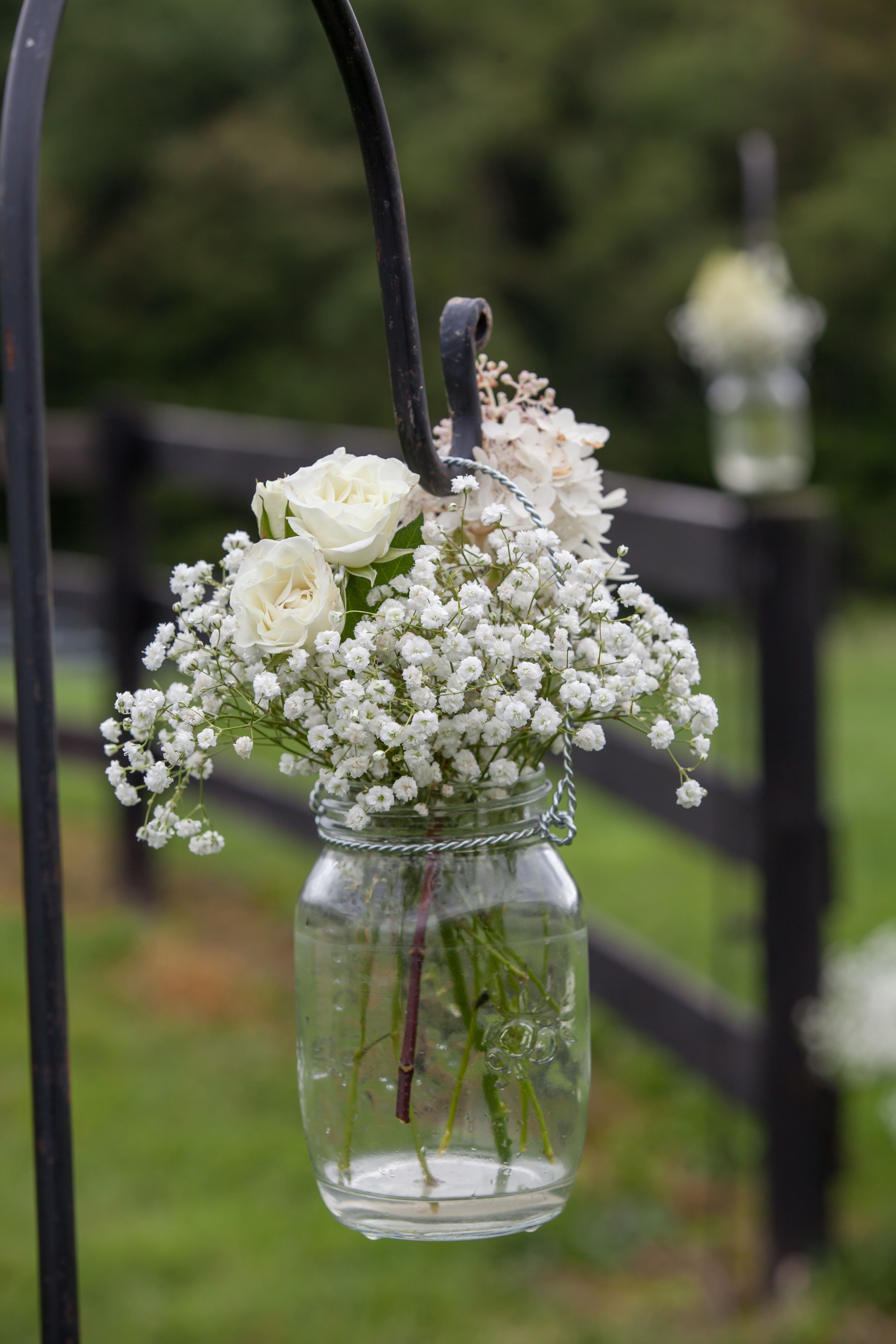 Hanging Mason Jar With Baby S Breath