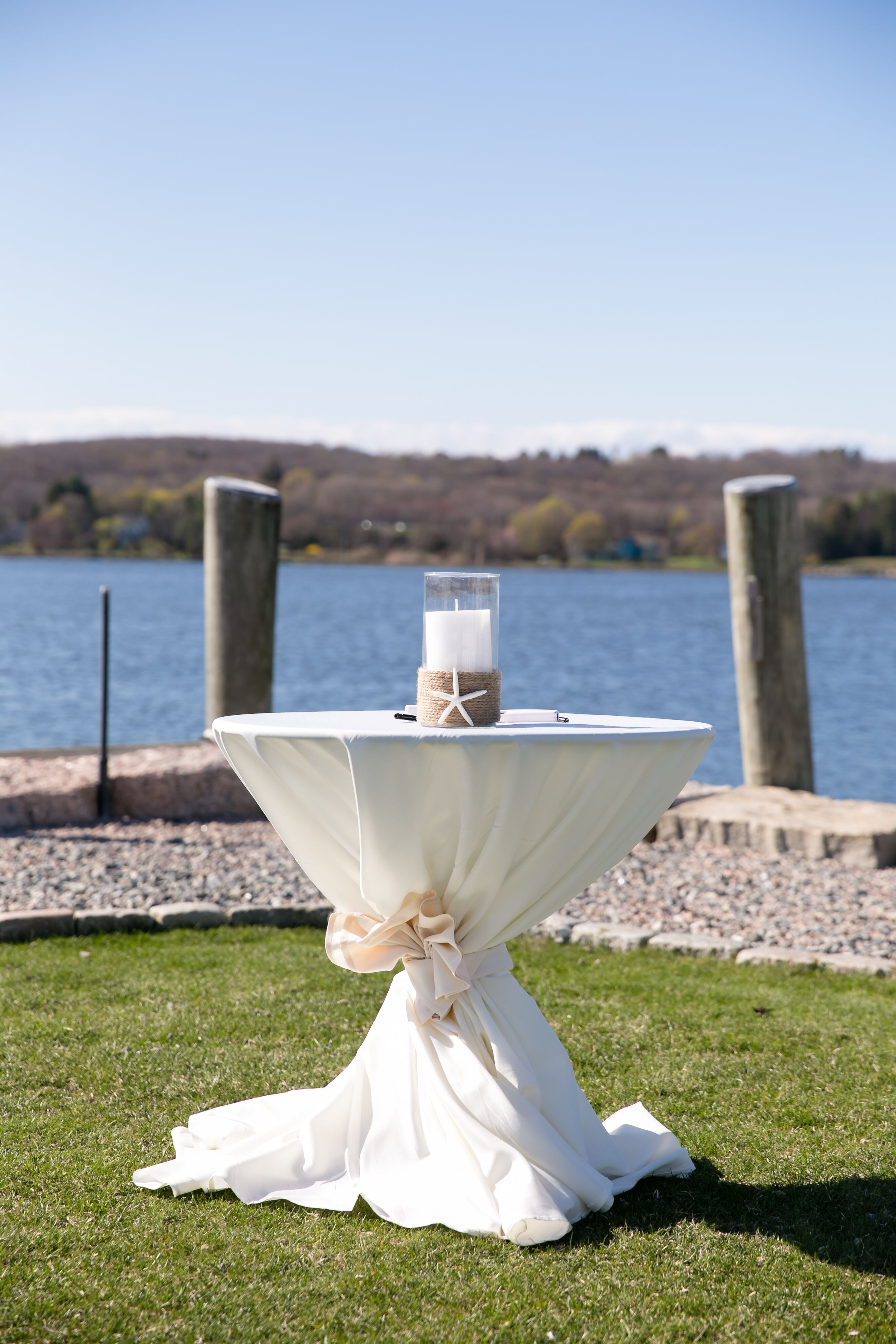 Outdoor Cocktail Table With Candle Centerpiece