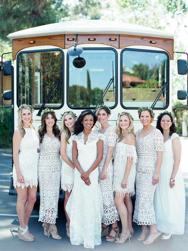 Boho Bridal Party in front of truck