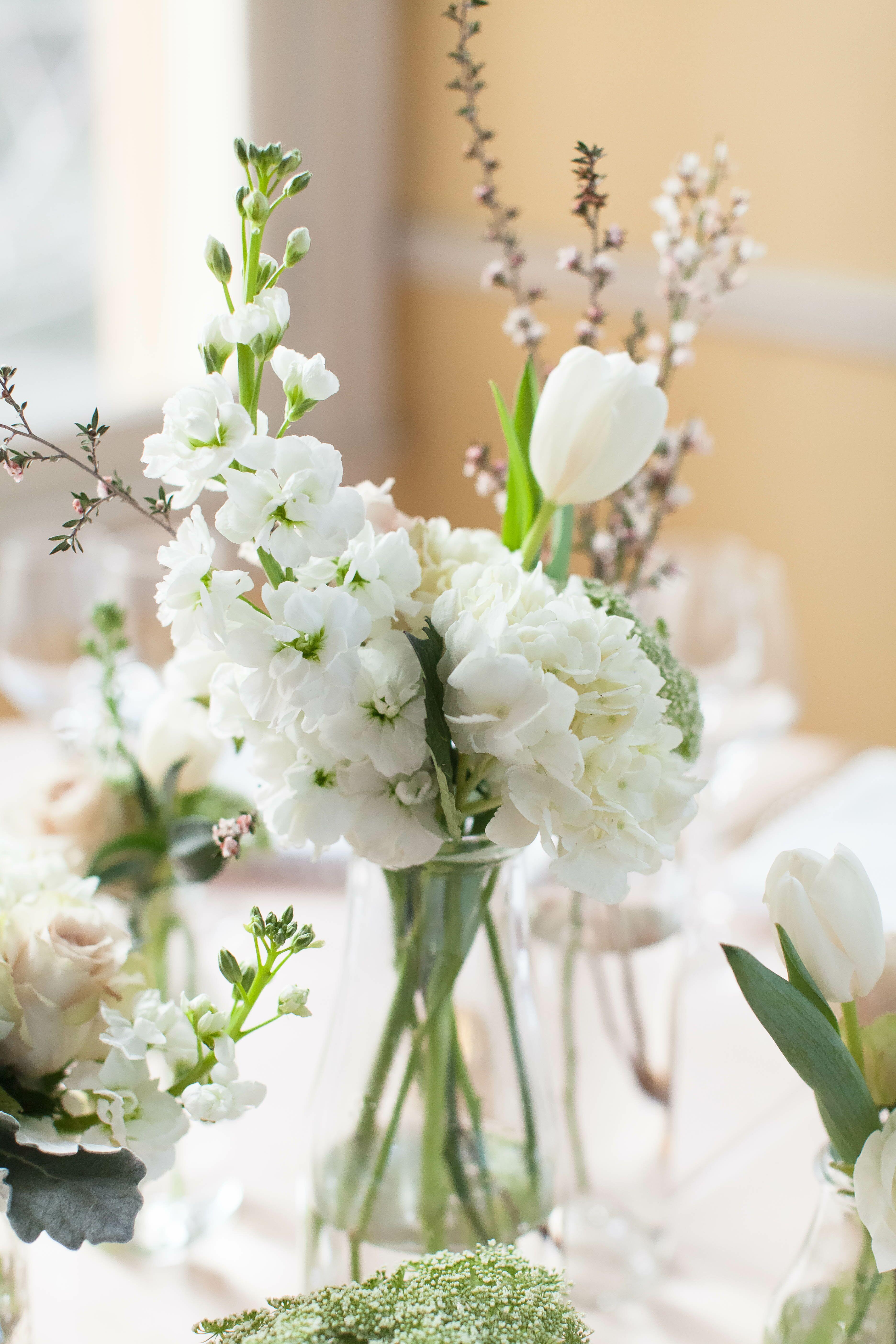 White hydrangea and tulip centerpieces