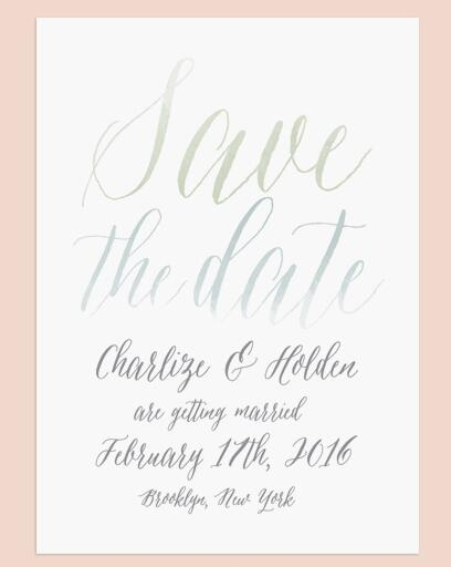 Watercolor calligraphy save-the-date from Love vs. Design