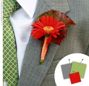 Green gray and red boutonniere