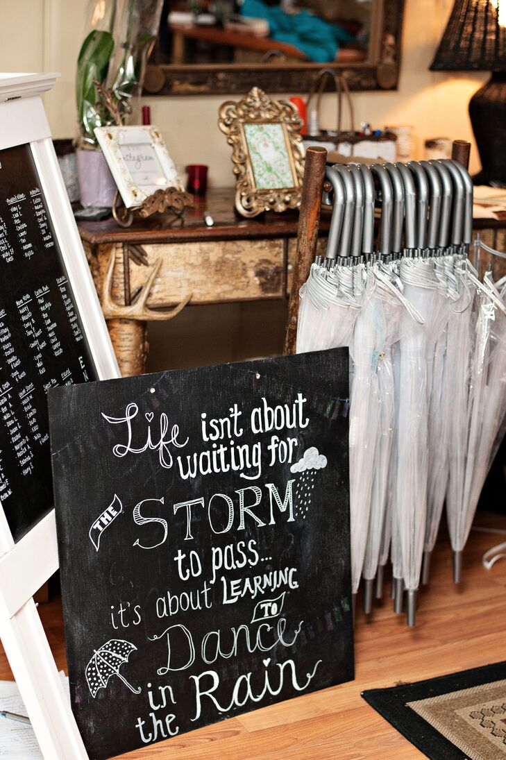 A Rainy Day Chalkboard Sign and Bubble Umbrellas for the Wedding Party