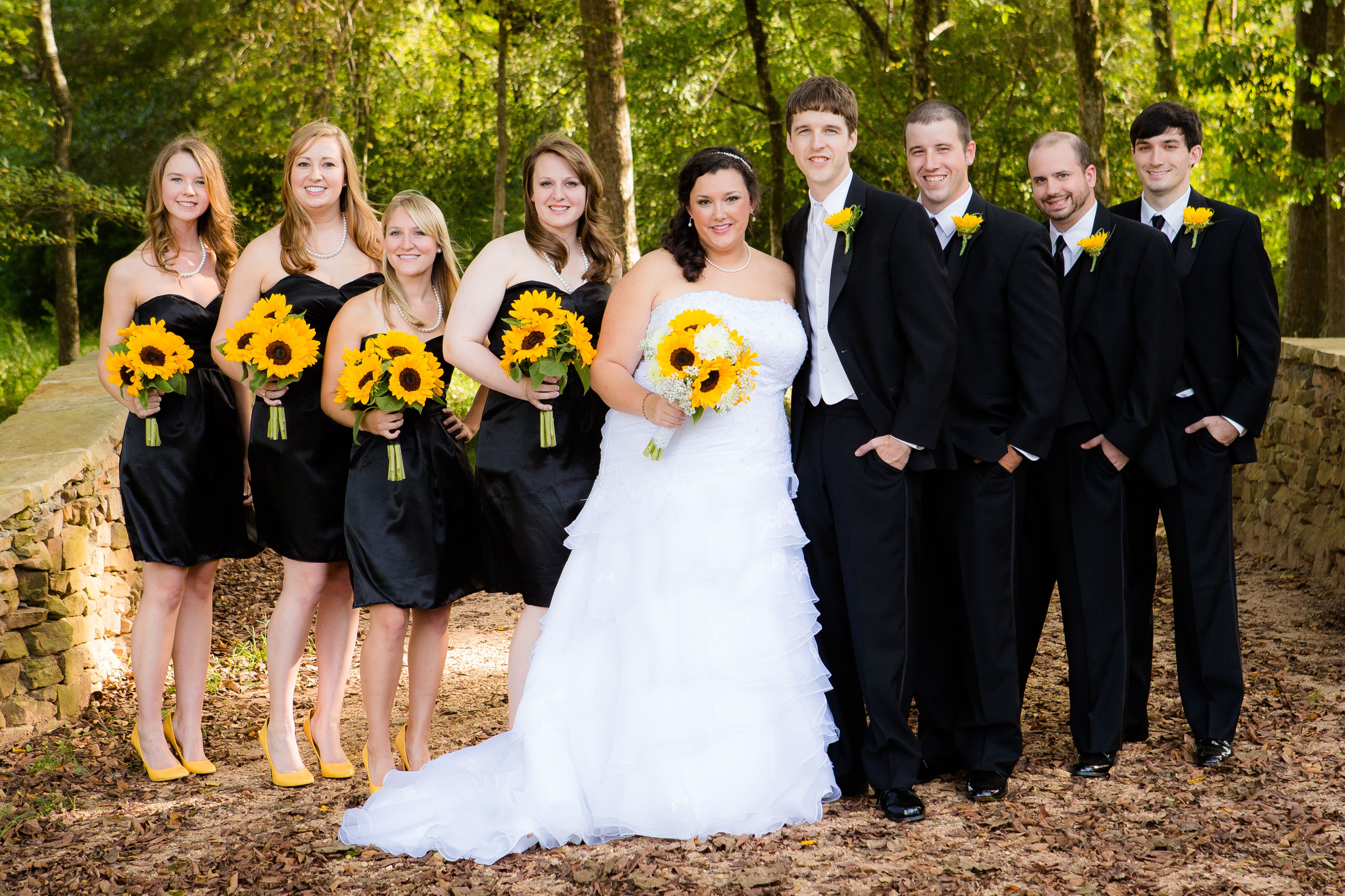 Black And White Wedding Party With Yellow Flowers