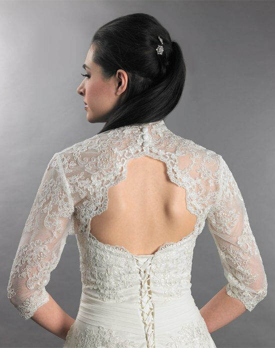 Tulip Bridal 3/4 Sleeve Ivory Lace Bolero Jacket with Keyhole Back Wedding Accessory photo