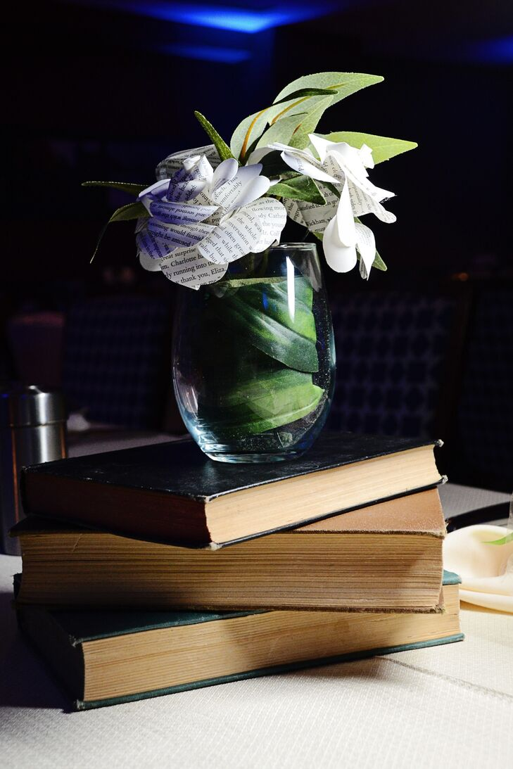 Paper flowers and books as centerpieces mightylinksfo