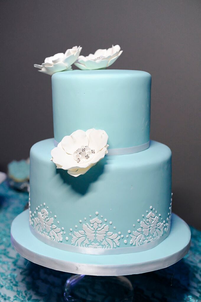 Turquoise Two Tier Wedding Cake