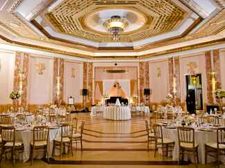 Gold Ballroom with White Table Linens