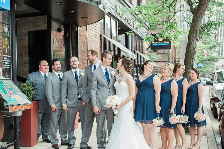 Couple S Wedding Ceremony And Reception Held At The Beach: Navy, Blush And Silver Wedding Party