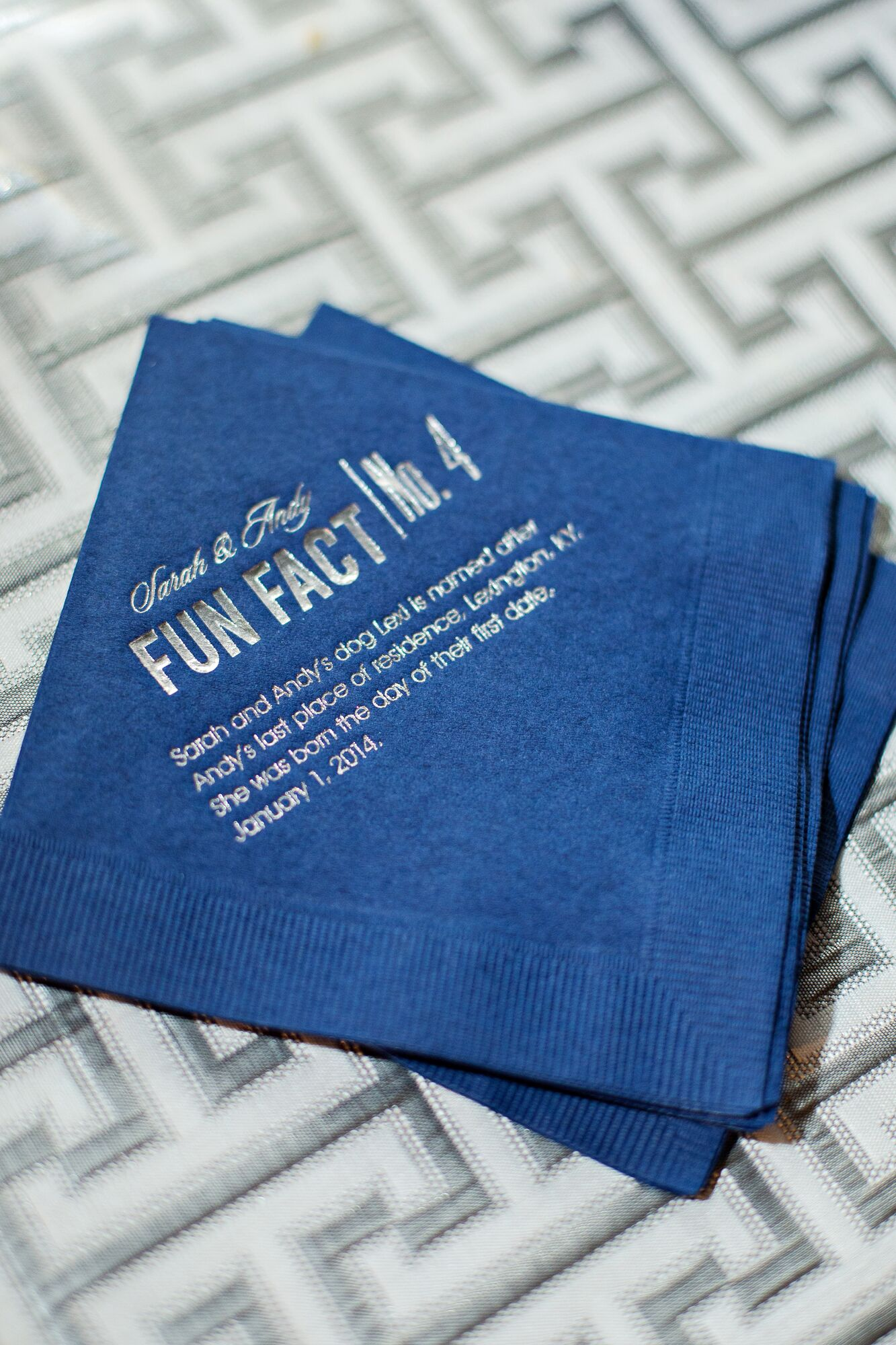 Personalized Cocktail Napkins With Fun Facts In Silver Foil Font