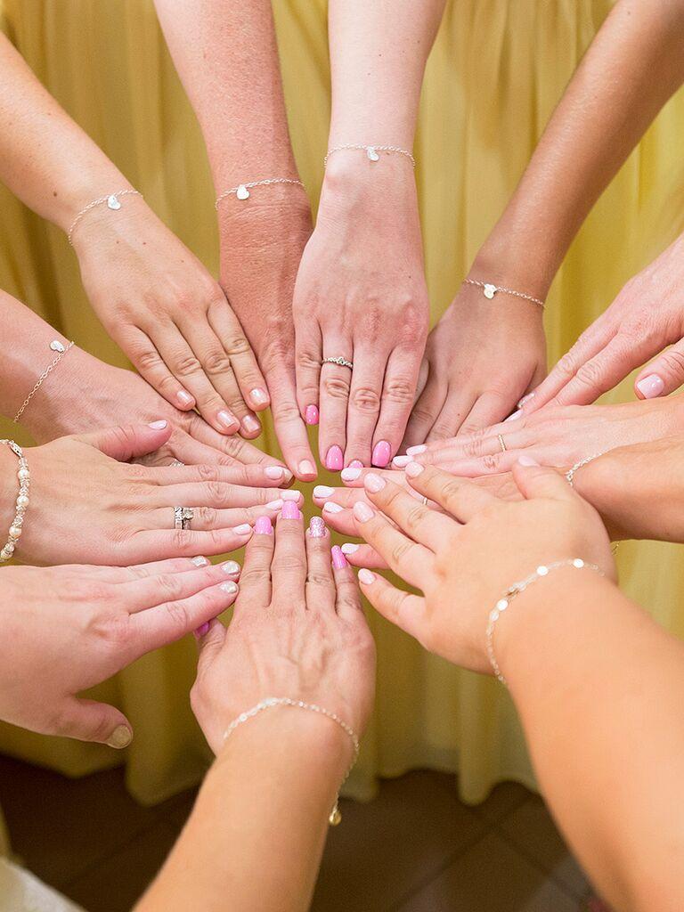 Matching Pastel Pink Wedding Nails
