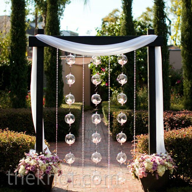 Wedding Altar Centerpieces: Orchid And Glass Ball Altar Decor