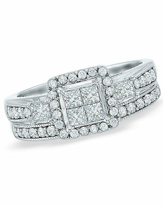 Zales 1 CT. T.W. Princess-Cut Quad Diamond Bridal Set in 10K White Gold  18243402 Engagement Ring photo