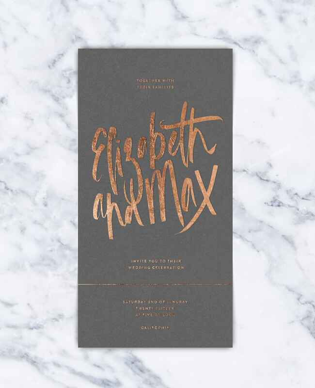 Gray and copper wedding invitation
