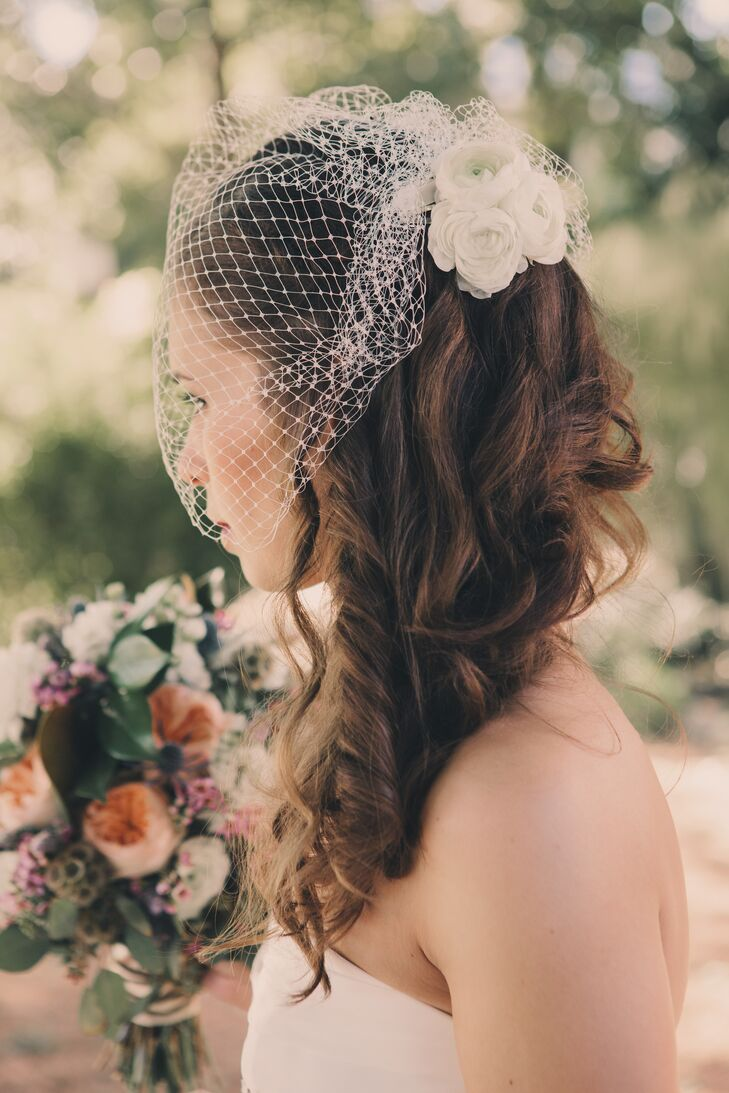 White Birdcage Veil with Vintage Flowers