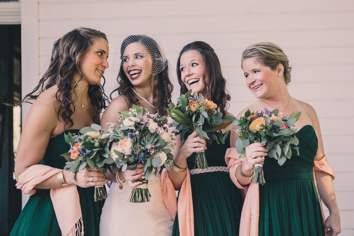 Dark Green Bridesmaids Dresses with Peach Accents