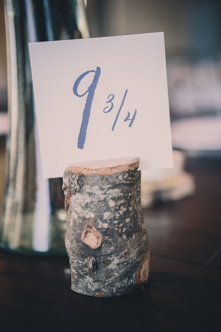 The head table was labeled number 9 ¾, a nod to the Harry Potter-themed groom's cake.