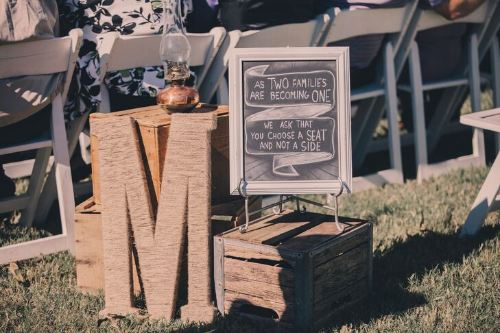 Rustic Vintage Ceremony Chalkboard Sign at Barr Mansion