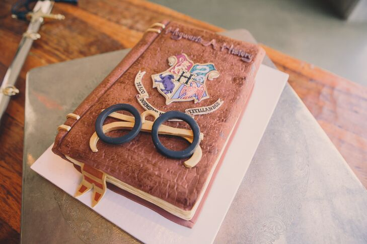 The groom's cake by Polkadots cupcake factory was a Harry Potter-themed textbook.