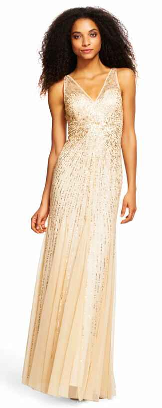 gold bridesmaid dress by Adrianna Papell