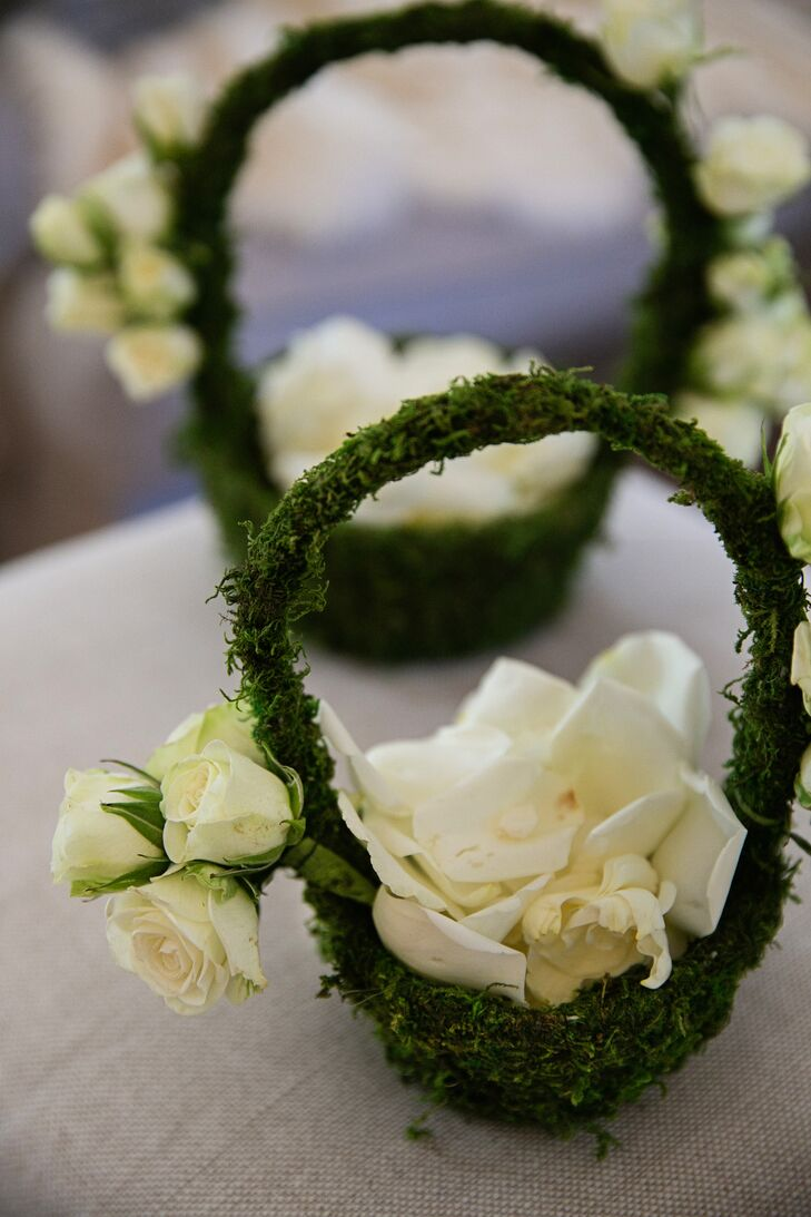 Moss-Covered Flower Girl Baskets with White Petals