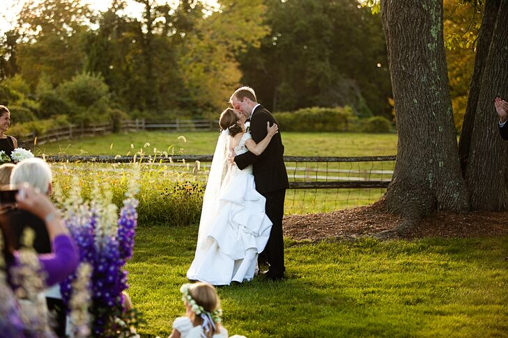 First Kiss at Bedford, New York Backyard Wedding