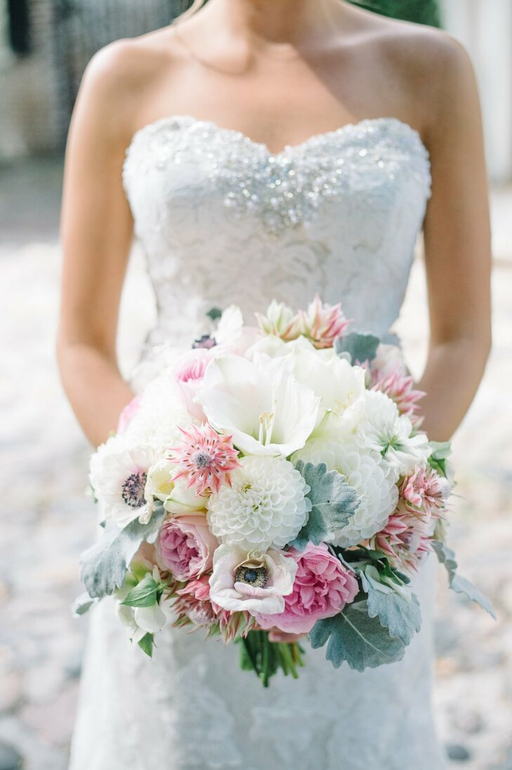 Tara's playful, textured bridal bouquet was filled with tulips, dahlias, anemones, roses and lamb's ear in pastel hues.