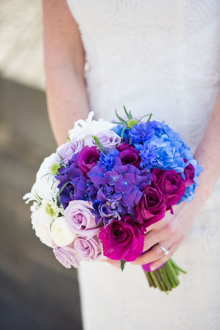 For the bride's bouquet, florist Anthony Brownie enhanced the ombre theme by incorporating shades of blue and purple hydrangeas fading to white hydrangeas.