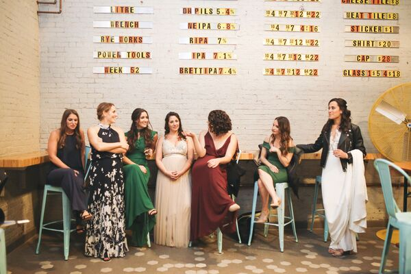 Mismatched Navy, Emerald and Burgundy Bridesmaid Dresses
