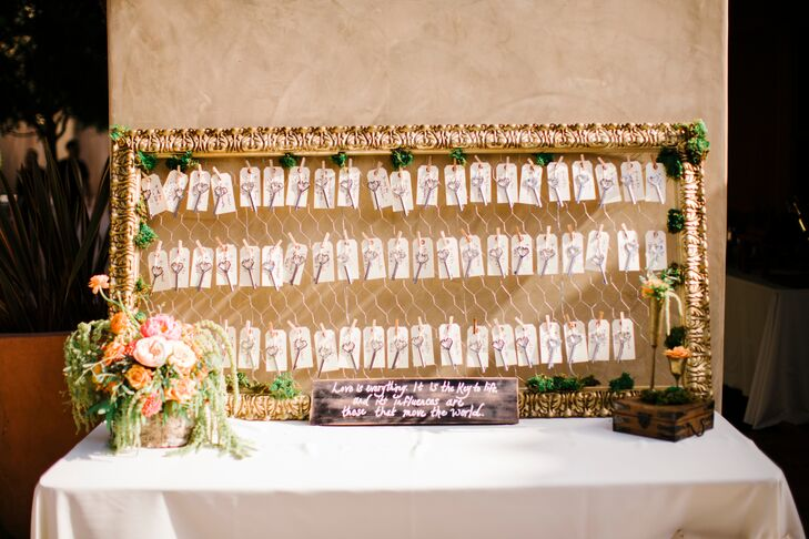 Stacy wrote each name and table number on the paper escort cards that hung on the wired board. Heart-shaped keys that doubled as wine-bottle openers for the wedding favors hung from the tags, adding a vintage touch to the display.