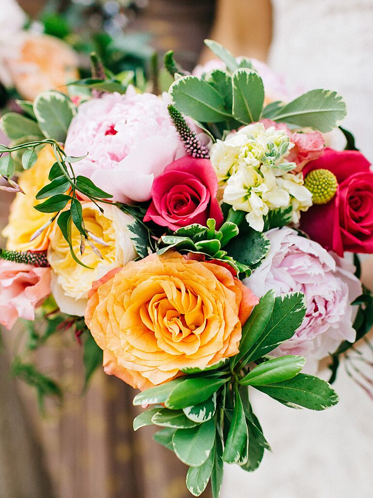 colorful rustic peony and garden rose bouquet - Garden Rose And Peony