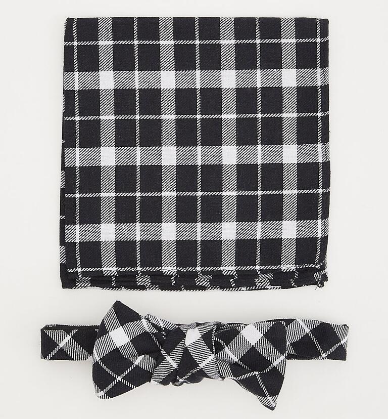 Plaid bow tie and pocket-square set