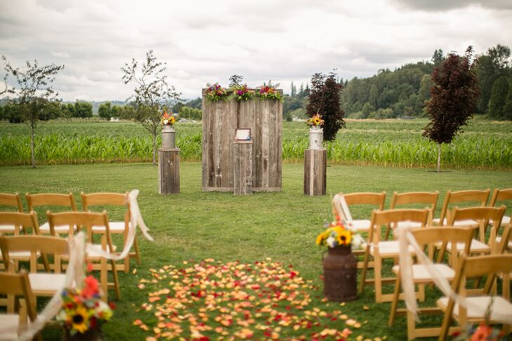 Rustic Wood Pillars And Altar Backdrop