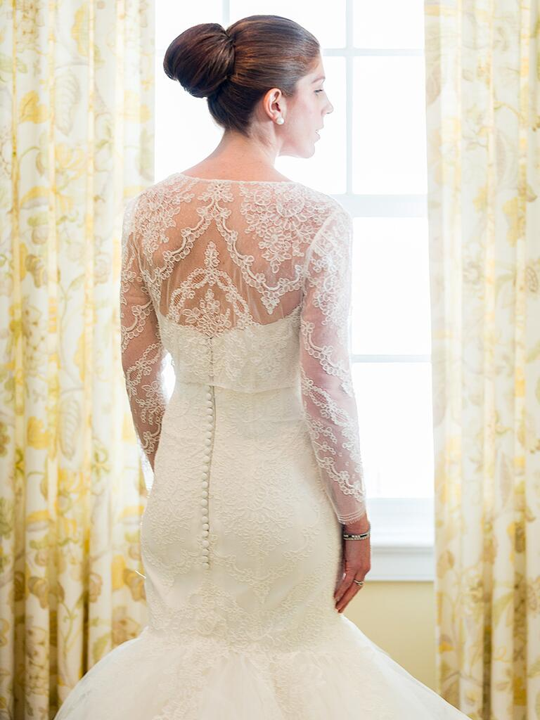 Dramatic fit and flare lace wedding gown by Amsale