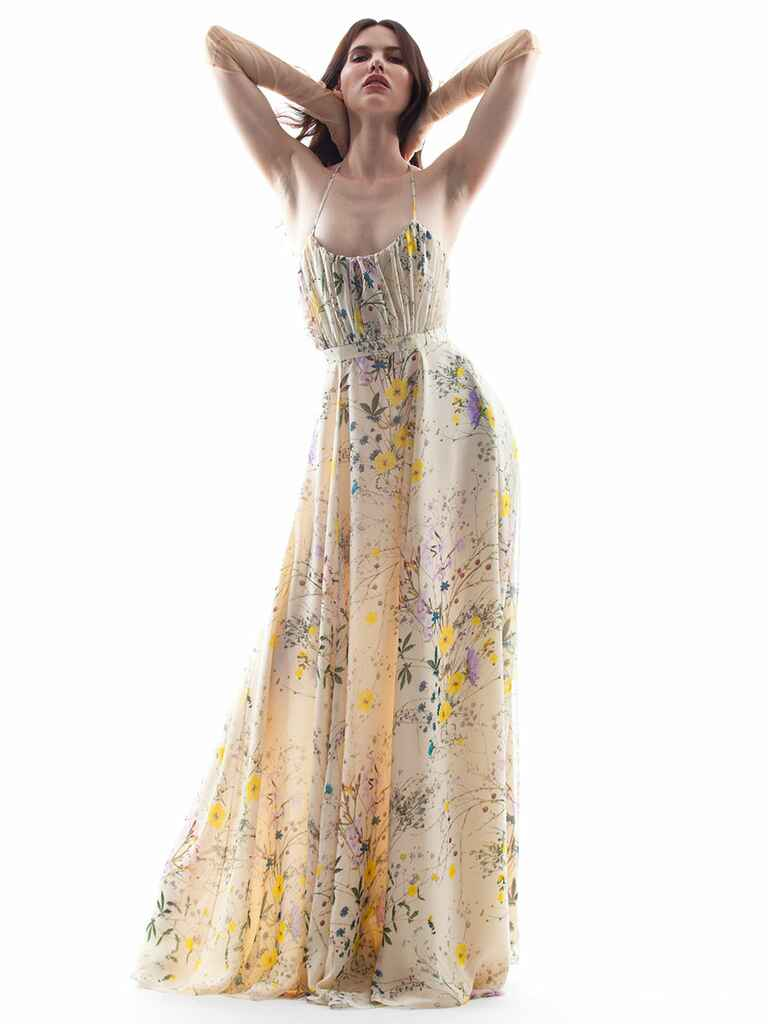 Houghton Spring/Summer 2018 sheer nude dress with yellow and purple floral motif, spaghetti straps and natural waistline