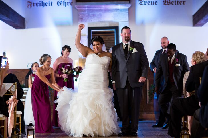 "After saying ""I do"", Veronica and John walked back down the aisle officially as a married couple."