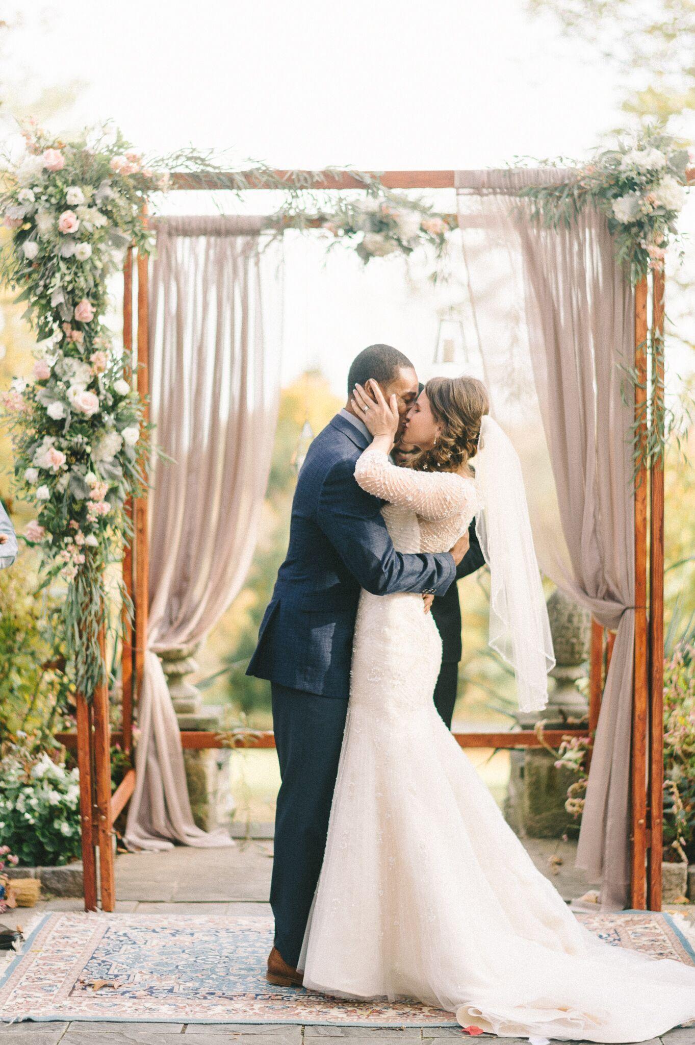 Romantic Garden Ceremony First Kiss