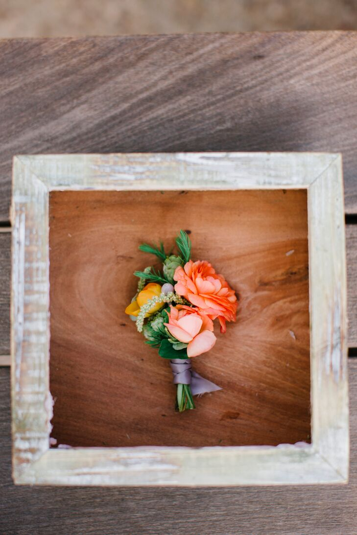 Pink and Peach Rose Boutonniere