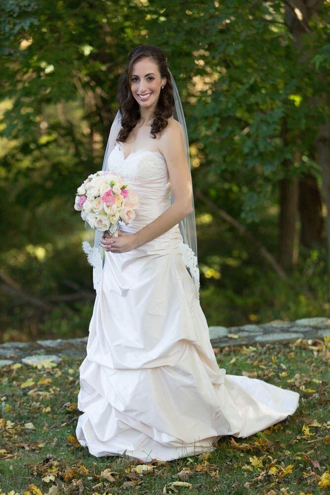 Strapless champagne silk wedding dress with fingertip for Veil for champagne wedding dress