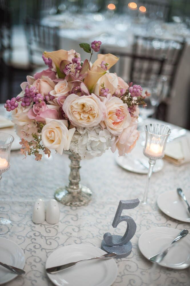 Small Peach And Pink Centerpieces In Mercury Glass Vases With Silver