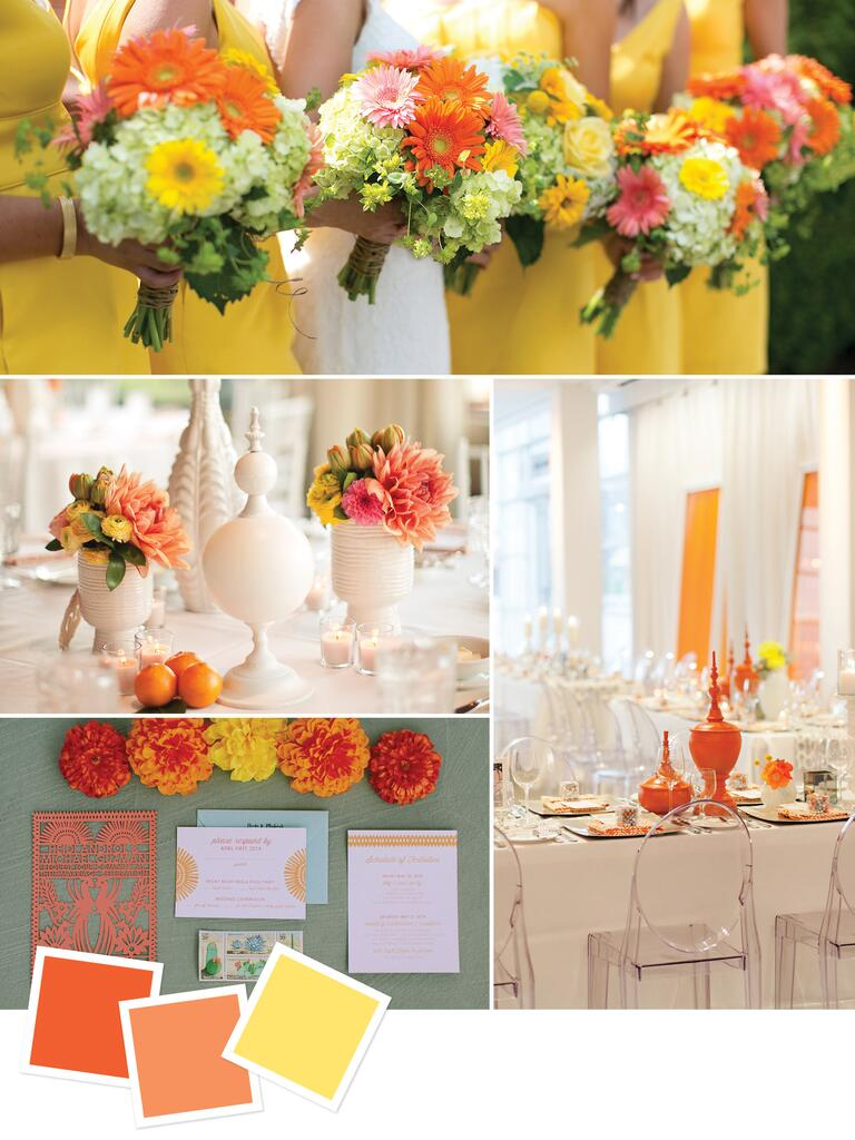 Tangerine, orange and yellow wedding details