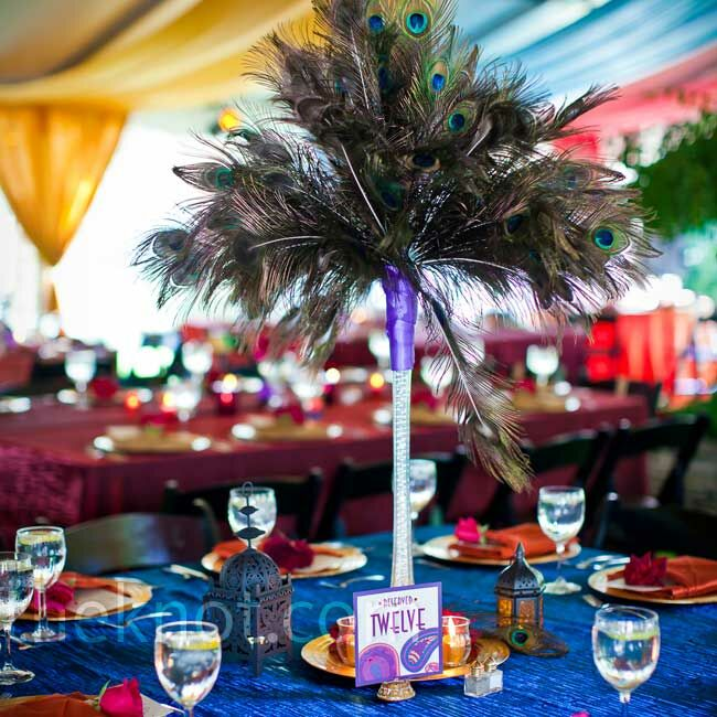 Peacock feather centerpieces - Peacock arrangements weddings ...