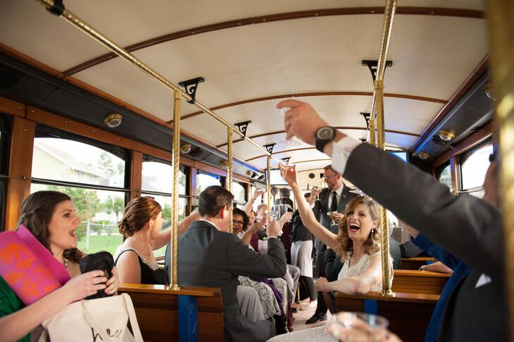 Megan and Mike hired a trolley from Philadelphia Trolley Works to transport their guests from the church ceremony to the reception at Phoenixville Foundry.