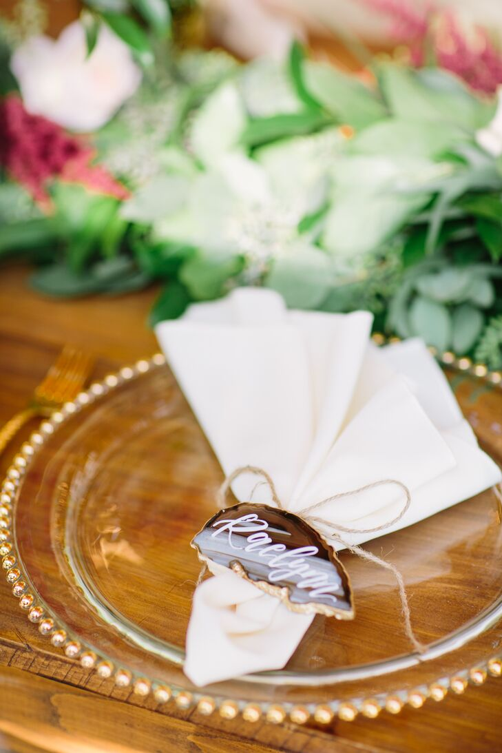 Sliced Agate Place Cards with Beaded Chargers